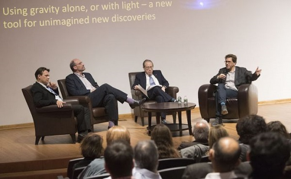 The evening's panel featured Szabolcs Marka, Andrew MacFayden, moderator Jeffrey Lynford, and Dr. Peter Fritschel.