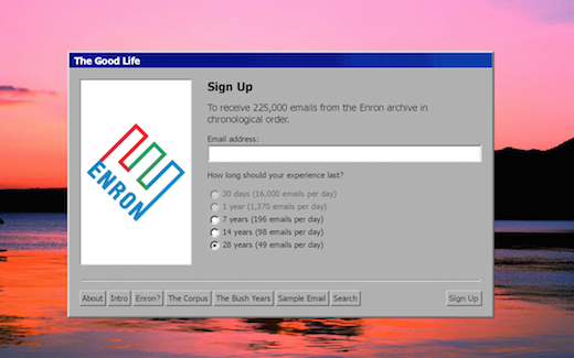 A screenshot of the sign up page to receive emails from the Enron archive