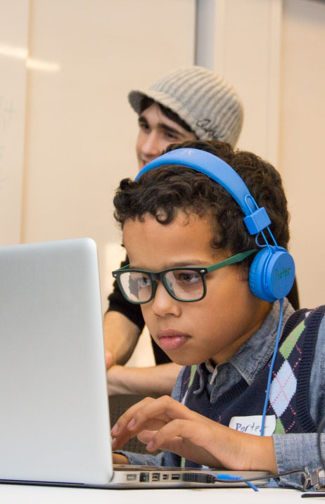 A student with special needs advances his technology skills with TechKids Unlimited
