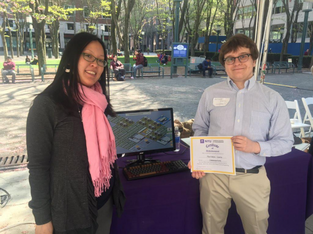 Associate Professor Jin Montclare (left) with first place winner Matthew Conto