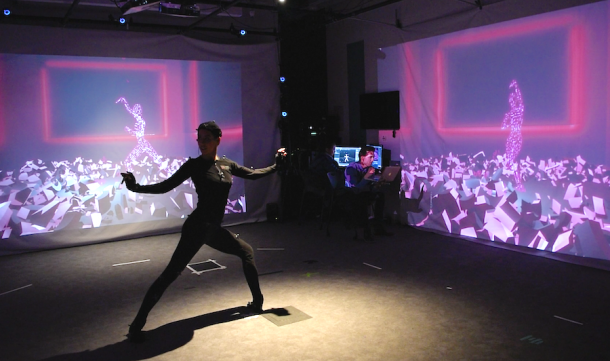 A dancer in Vessel reacts to real-time text messages from the audience