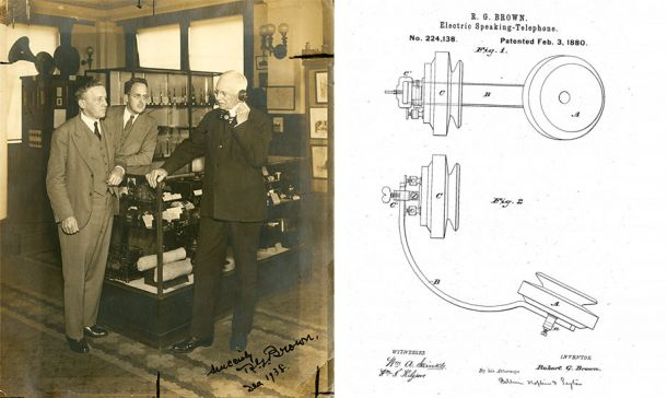 "Alum Robert G. Brown (holding phone) invented the Electric-speaking Telephone in 1897. It was dubbed ""French phone"" because the invention first took off in France."