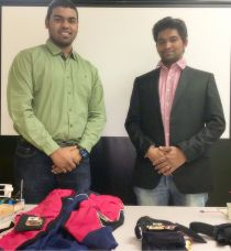 Ashwin Raj Kumar, PhD Candidate (left) and Sai Prasanth Krishnamoorthy, MS Candidate, with the inexpensive wearables they developed to encourage stroke victims to perform their rehabilitation exercises properly at home