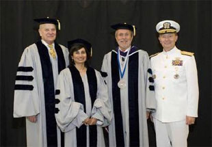 Left to right: William A. Wulf, president of the National Academy of Engineering; Padmasree Warrior, executive vice president and chief technology officer, Motorola Inc.; Jerry M. Hultin, president, Polytechnic University; Admiral Edmund P. Giambastiani Jr., vice chairman of the Joint Chiefs of Staff.