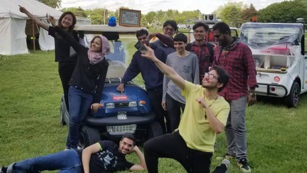 Students on AI Madness autonomous vehicle team at Intelligent Ground Vehicle Competition