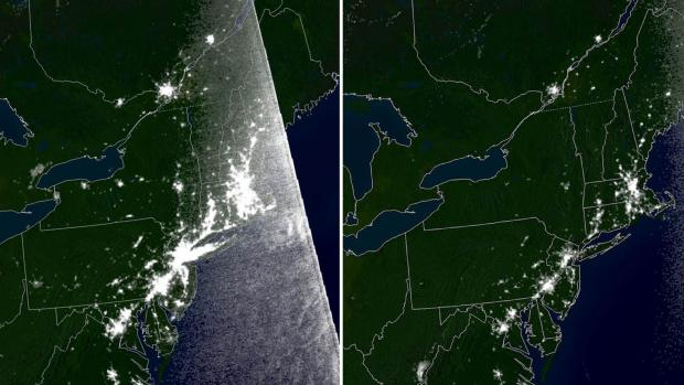 satellite images comparing light before and after blackout of 2003