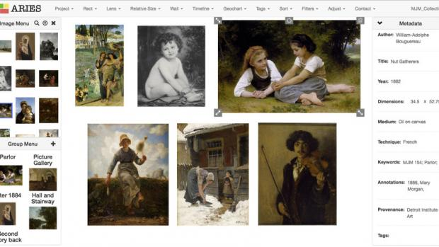 ARIES interface displaying multiple images of artwork side by side
