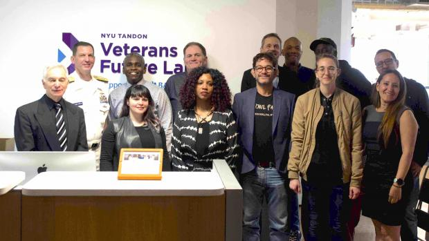 Vice Admiral Kriete (in uniform) at the Veterans Future Lab with portfolio startup founders