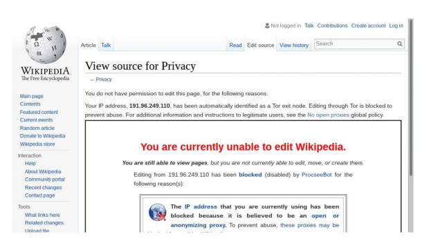 screenshot of Wikipedia banning tor users