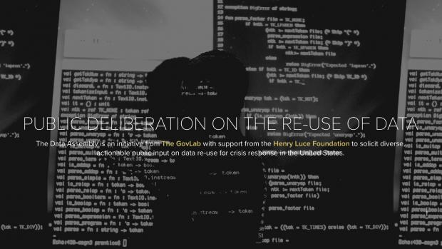 """screenshot of website: """"PUBLIC DELIBERATION ON THE RE-USE OF DATA"""""""