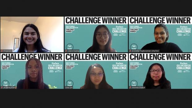Six female student winners in a zoom presentation