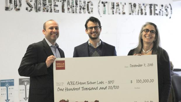Wells Fargos presents check to ACRE/Urban Future Labs