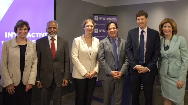 Group photo of Jane MacKillop, Katepalli R. Sreenivasan, Alicia Glen, Dan Garodnick, James Patchett, and Julie Menin