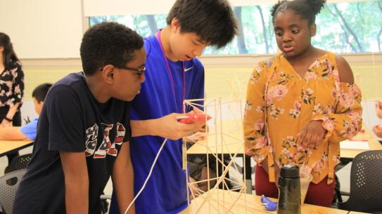 Middle school students work on a science project