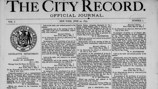 Front page of the 1st edition of City Record