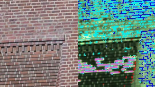 a photograph of a brick wall with the hyperspectral data next to it.