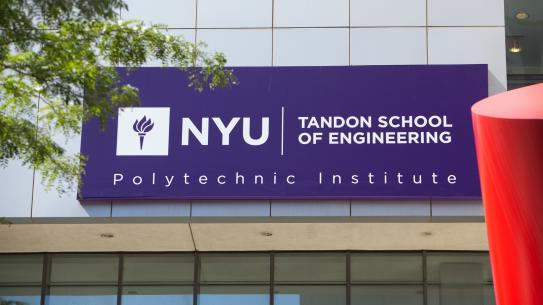 NYU Tandon School of Engineering sign on building