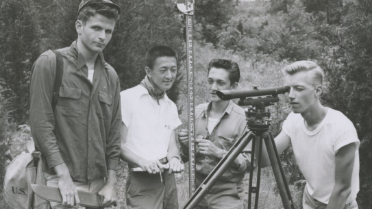 Civil Engineering students circa 1959 conducting surveying lab