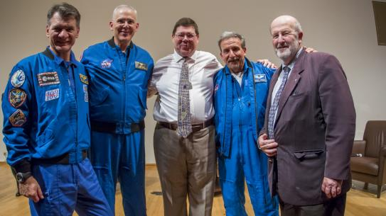 John with fellow astronauts