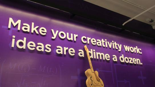 "Makerspace Quote: ""Make your creativity work: ideas are a dime a dozen."""