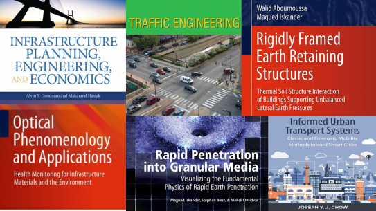 Photo collage of faculty books covers