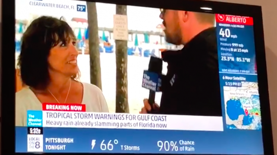 Alum Joan Von Ahn being interviewed on the weather channel