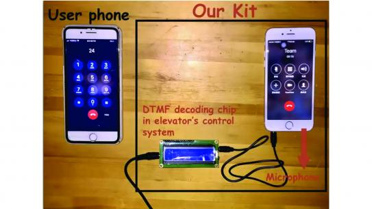a mobile phone attached to a DTMF decoding chip in elevator's control system