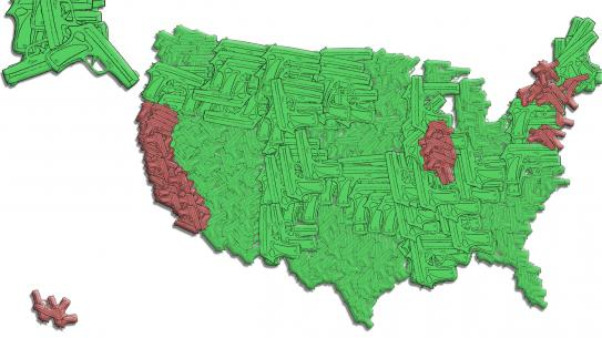map of the US made out of gun shapes