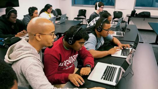 Neurodiverse students at computers