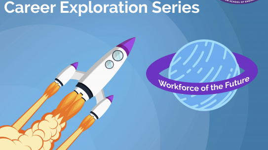 "A cartoon rocketship heading towards a planet reading ""Career Exploration Series: Workforce of the Future"""