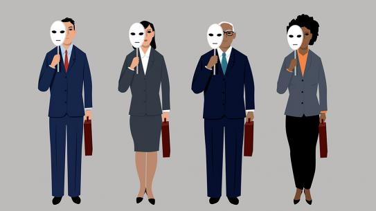 Four animated figures of different races and genders holding identical blank masks partially over their faces.