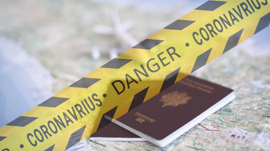 Yellow caution tape over passports