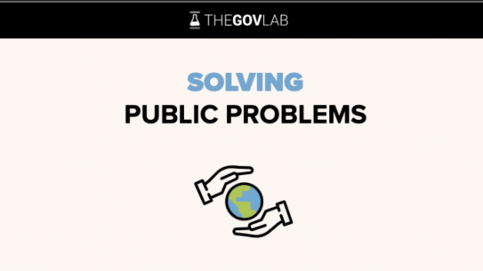"The Govlab logo, set above a stylized globe surrounded by two hands. Text reads ""Solving Public Problems."""