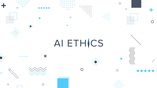 "Background shapes with text reading ""AI Ethics."""