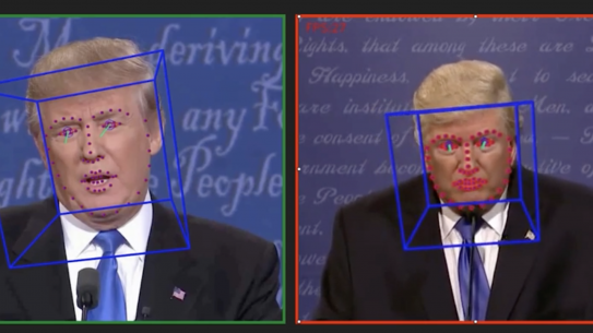 Real and Deepfake of headshots of Donald Trump