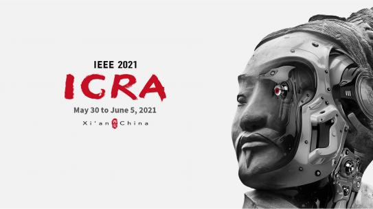 Poster for IEEE's IGRA conference in Xi'an, with a statue with a robotic eye.