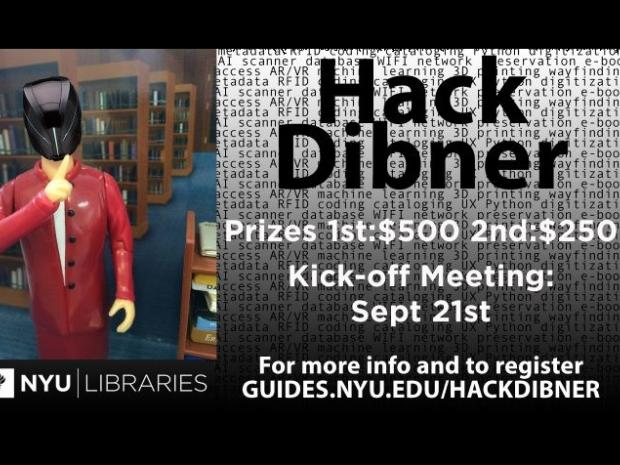 Hack Dibner poster with librarian action figure