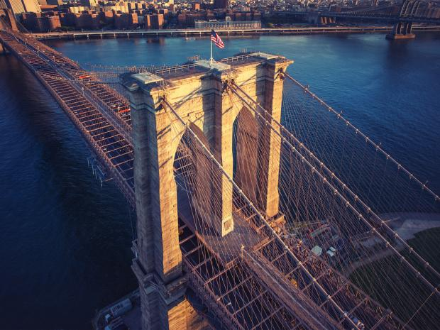 arial of Brooklyn bridge