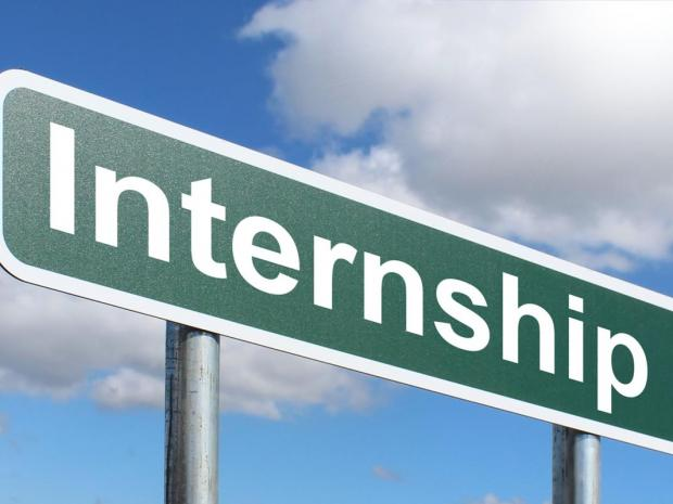 Highway Sign with the word Internship