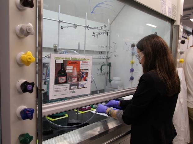 female student working in lab