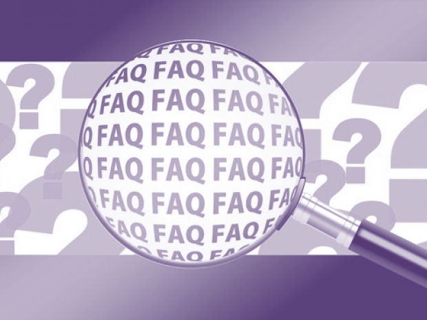 magnifying glass over FAQ