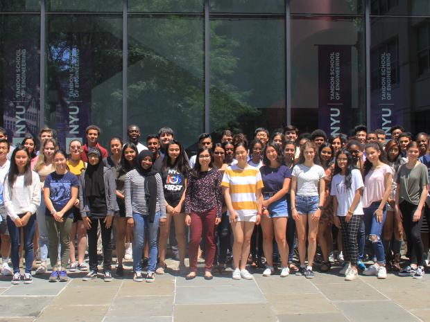 students posing in front of NYU Tandon