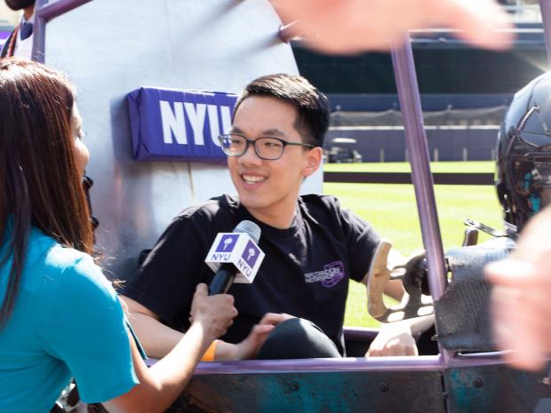Marcus Chung, founder of NYU Motorsports, interviewed at commencement