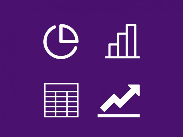 pie chart, histogram, spreadsheet and line chart icons in a two by two grid
