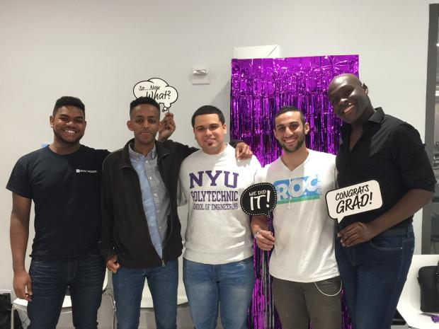 five male students of color at blmt graduation reception