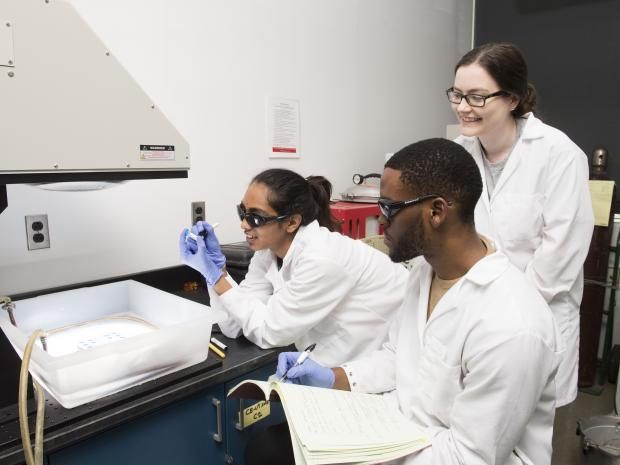 Students working in research lab