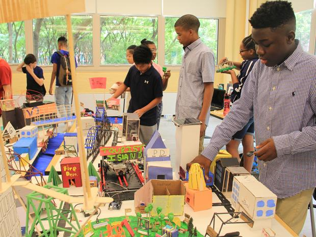 students building a smart city