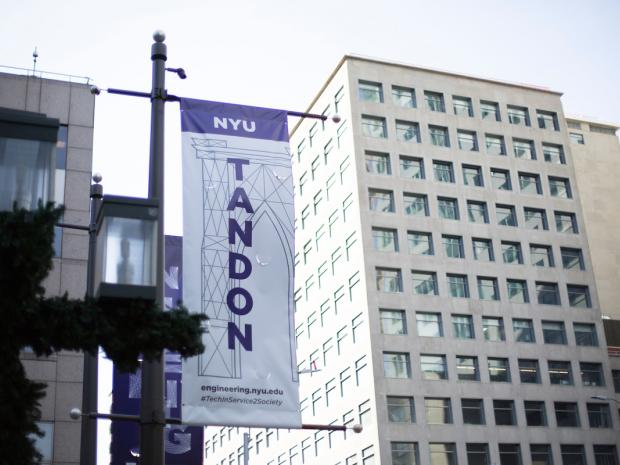 NYU Tandon banner on campus