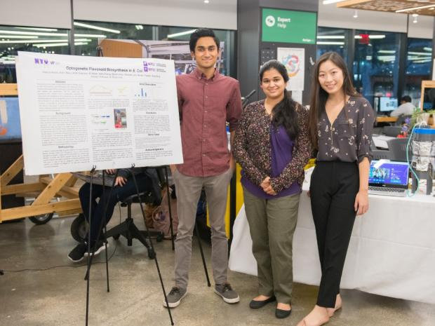 Three team members of iGEM standing with their project poster and prototype at the MakerSpace.