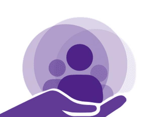 Simple icon of purple hand holding up three people icons